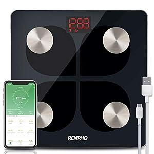 RENPHO Báscula de Grasa Corporal con Bluetooth – Báscula Elegante para Baño BMI Digital Escala, Analizador Recargable de…