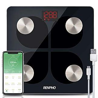 41XYQJyY0JL. SS324  - RENPHO Báscula de Grasa Corporal con Bluetooth - Báscula Elegante para Baño BMI Digital Escala, Analizador Recargable de Composición Corporal con USB y Aplicación