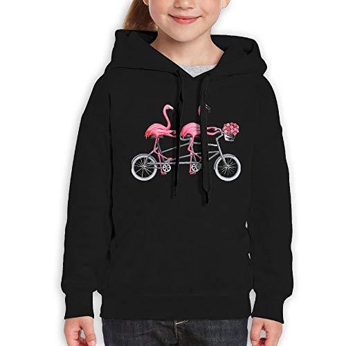 Phqon9588 Pink Flamingos On Tandem Bicycle Teenager Pullover Hoodie Sweatshirt Teen\'s Hooded for Boys Girls Black Black Large