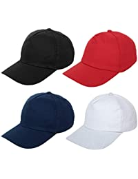 Zacharias Boy's Cotton Baseball Cap Pack of 4 (Black,Blue,Red & White ; Free Size)