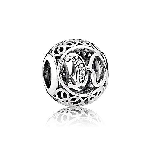 Charm-Anhänger, 925 Sterlingsilber, Motiv: Buchstabe des Alphabets, für Pandora-Armbänder, kompatibel mit europäischen Armbändern (Buchstabe K)