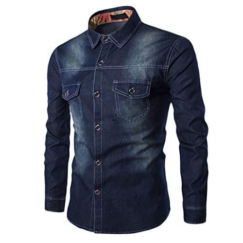 Hffan Herren Jeansjacke Stehkragenhemd Retro Denim Tops Farbverlauf Einfach Moden Design Shirt mit Brusttasche Langarm Slim Fit Casual Freizeithemd für Männer(Dunkelblau,XXX-Large)