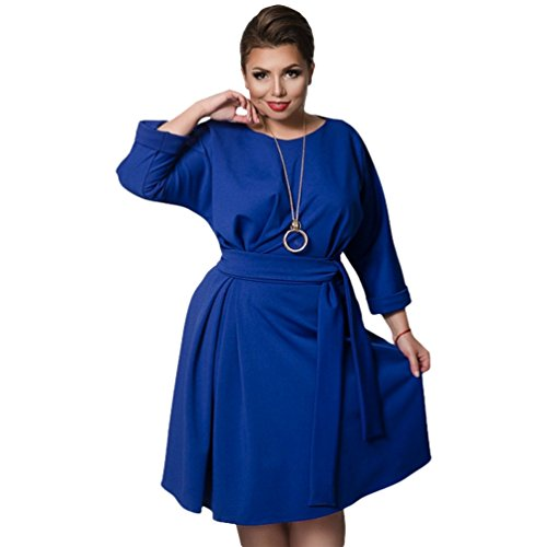 Linnuo vestito taglie forti a pieghe donna vestiti con cintura sera party cocktail tinta unita vestitini abiti (blu,cn 2xl)