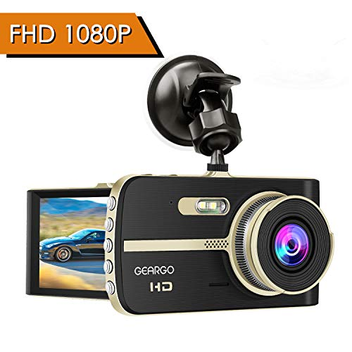 "Cámara de Coche, GEARGO Dashcam Full HD 1080P Dual Lens Cámara para Coche G-Sensor Detección de Movimiento Grabación en Bucle con Visión Noctura WDR 4""LCD Pantalla"