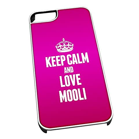 White Cover for iPhone 5/5s 1289 PINK Keep Calm and Love Mooli