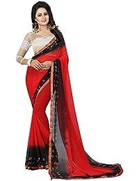 Vinayak Textiles Women's Nazmin Chiffon Saree With Blouse Piece Material (Red Black Bandhani Saree_Free Size)