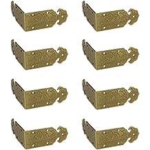 rzdeal Juego de 8 Vintage de latón caja metálica esquinas tirantes correas de repujado soportes 2.0