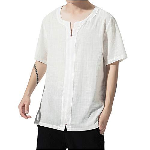 UINGKID Herren T-Shirt Kurzarm Slim fit Baumwolle Herren Sommer Lässige Mode Reine Farbe Leinen s Tops White Rock Oase