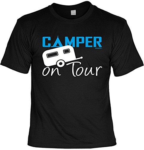Fun Shirt mit lustigem Motiv - Camper on Tour - Wohnwagen - Geschenk zum Geburtstag - Camping - schwarz Schwarz