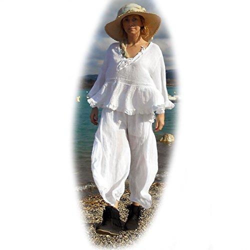 Talia Benson -Coklico - Tunique lin grande taille - blanc / orange - 44 46 48 Blanc
