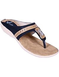Smaito Black & Beige Double Kadi Chain Stone Sandal For Women