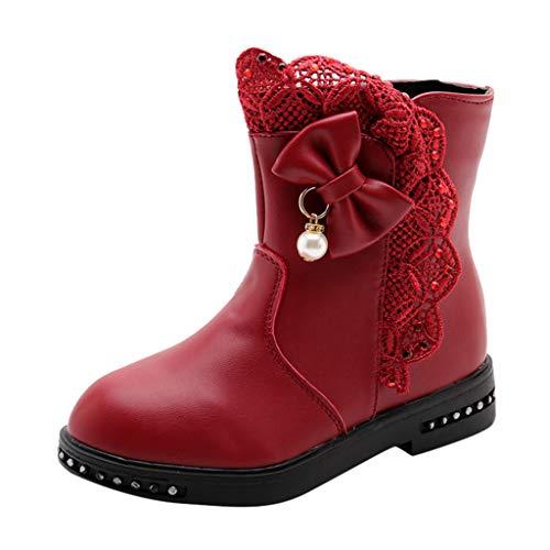 Deloito Winter Kinder Martin Stiefel Große Mädchen Bowknot Perle Spitze Seite Schneeschuhe Kleinkind Baby Freizeit Hohe Stiefel mit Reißverschluss (Rot-B,34.5 EU)