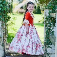 Girls Quality Red Floral Historical 18th Century Countess Costume 6 - 8 Years