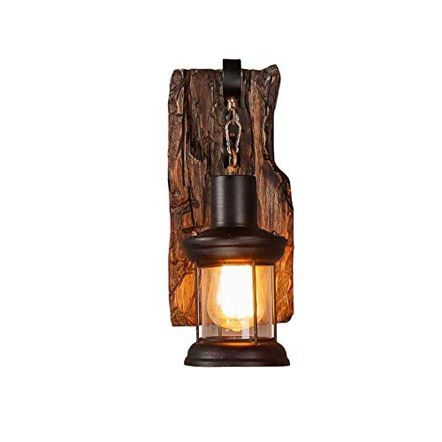 Vintage Holz Wandleuchte,COCOL Vintage Metall Glas Wandleuchte E27-Fassung Wandbeleuchtung Rustikal Holz und Wandleuchte Antik Wohnzimmer Wandlampe Vintage Industrielle Style (Color : B) -