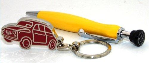 fiat-500-geschenk-set-schlusselanhanger-kuli-gelb-blech-schatulle