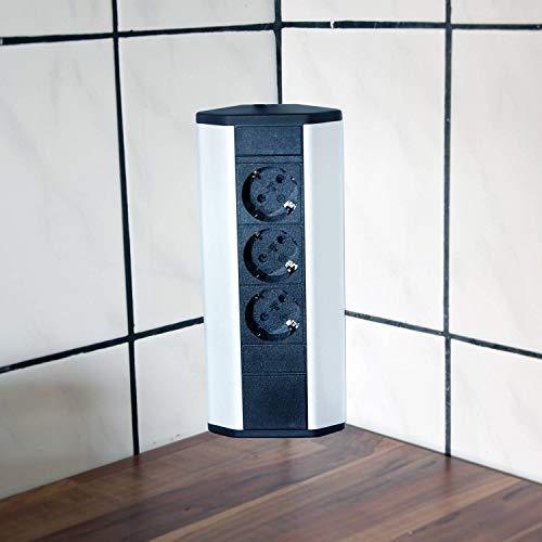 Steckdose für Küche und Büro - Ecksteckdose aus Aluminium und hochwertigem Kunststoff ideal für Arbeitsplatte, Tischsteckdose oder Unterbausteckdose mit 3-fach Steckdosenelement | 3er Steckdose