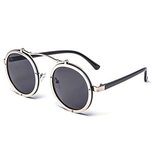 Z&HA Damen-Sonnenbrille rund um Mode-Gradienten-Objektiv UV400 Schutz-große Frame-Punk-Rout-Sonnenbrille Fahren, Party, Straßenschießen,05