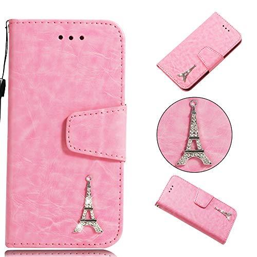 BONROY® Schlichte Einfarbige Hülle für Samsung Galaxy A3 2017 / A320 Brieftasche in Lederoptik, Schale mit Karteneinschub, Etui, Buchstil Geldbörse-(YB Diamond Tower - Rosa)