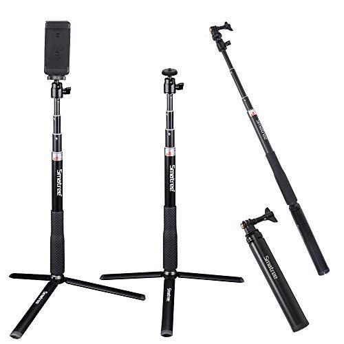Smatree Ausziehbare Pole/Selfie Stick mit Stativ für DJI OSMO Action/GoPro Hero2018,Hero 8/7/6/5/4/3+/3/Session/Fusion für Kompaktkameras/Handys