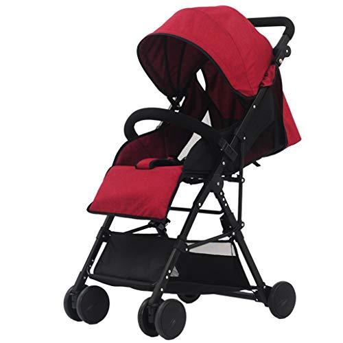 XP Baby Carriage-Baby Trolley Baumwolle und Leinen Ultraleicht Kann sitzen/liegen Faltbare Trolley Einstellen Sonnenschirm Markise Stoßdämpfer Vier Räder Kinderwagen,Weinrot