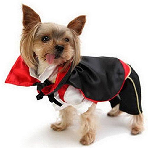 (Ranphy Kleine Hunde Halloween Kostüme Vampir Umhang Pet Outfit für Party Weihnachten Cosplay Besondere Anlässe, M, Black,Red)
