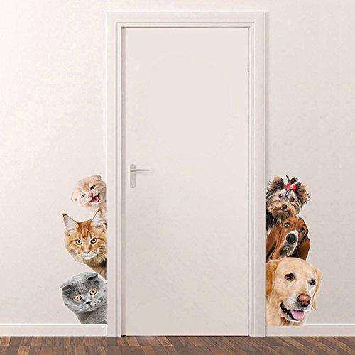 Pegatinas perros y gatos para puertas habitacion baño quedan espectaculares alegres coloridas y originales 17cm x 40cm paredes ventana caravanas de OPEN BUY