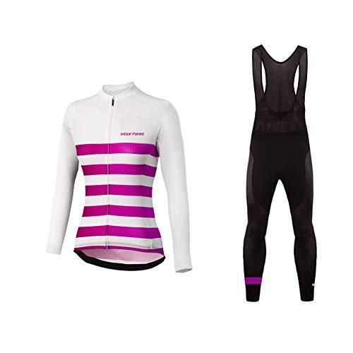 Uglyfrog Donna Moda Maglia Ciclismo Jerseys Maglia con Lunghe Maniche Tuta Primavera/Autunno + Pantaloni Lunghi di Ciclismo Poliestere CXWX02F