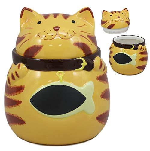 Ebros Keramik-Dekofigur für Katzen, Kätzchen oder Kätzchen mit riesigem Fisch, Orange, 17,78 cm hoch
