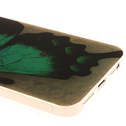 "iphone 5 Coque, SsHhUu Anchor Pattern Ultra Slim Doux TPU Flexible Durable Gel Silicone Protecteur Rear Skin Painting Art Étui Housse Case Cover pour Apple iphone 5 5S SE(4.0"") Blue butterfly"