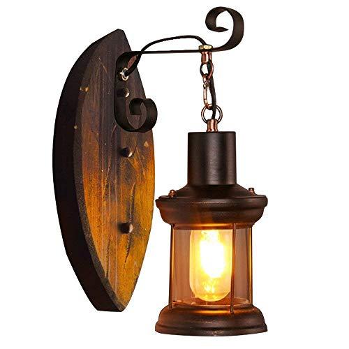 BIDTIAXI Lampe Murale en Bois rétro Vintage Antique Applique Industrielle créative Murale Lumières luminaire européen Loft pour allée Couloir escalier Café Bar W15* H36 cm 1* E27