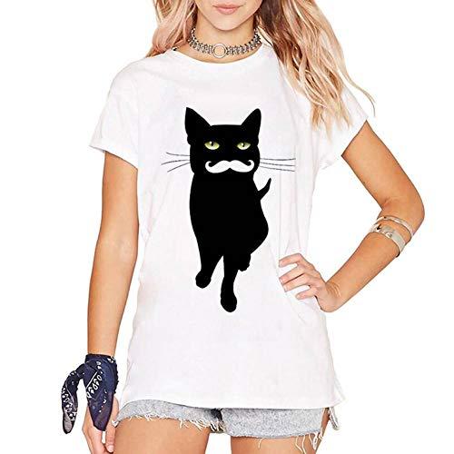 LIULINUIJ Frauen-T-Shirt Kühle Bart-Katzen-Druck-T-Shirt Der Frauen Vintages O Ansatz Kurzärmliges Weißes Hipster-T-Stück des Tier-Sommer (Bart Der Katze)