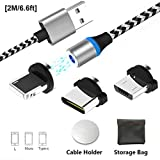Magnet Ladekabel Magnetisches Micro L Type C USB Nylon Kabel mit LED, Magnetic USB Charging Cable 3-in-1 Schnellladekabel mit für Phone Android Sam Sung Galaxy, Huawei, Kindle - NO Sync Data 2M