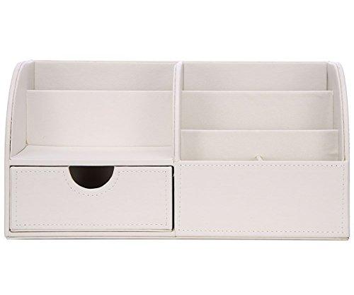 KINGFOM™ 7 Speicherabteil Multifunktionale Kunstleder Schreibtisch Organisator (Weiß) - 3