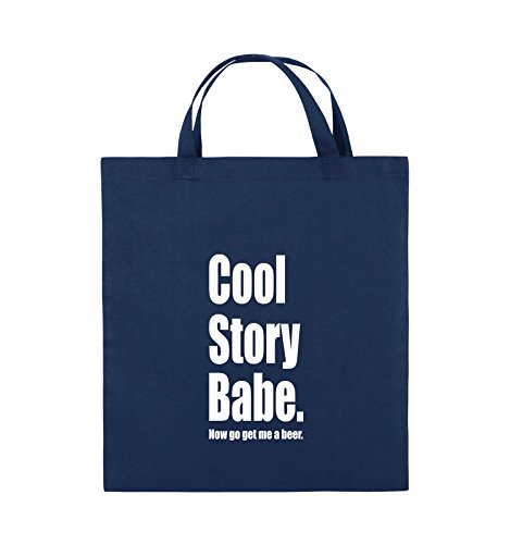 Comedy Bags - Cool Story Babe now get me a beer - Jutebeutel - kurze Henkel - 38x42cm - Farbe: Schwarz / Pink Navy / Weiss