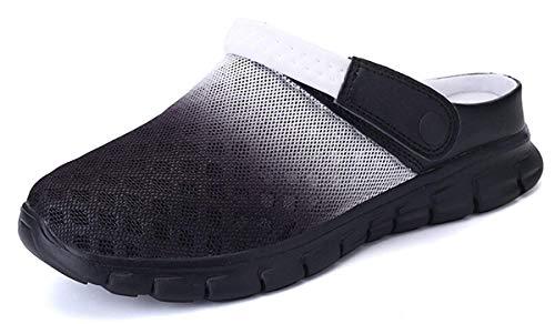Unisex Clogs Hausschuhe Muffin Unten Alltägliche Drag Pantolette Sommer Beach Schuhe Sandalen für Damen Herren, Schwarz Weiß, 40 EU Weit