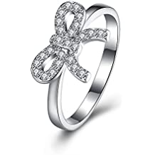 BALANSOHO 925 plata de ley mujeres Circonita Compromiso Aniversario Promesa Anillos Brillante Tamaño 8