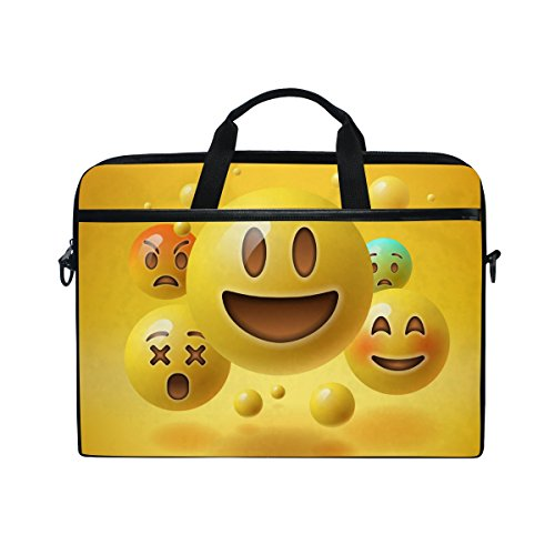 39017d9cba7 JSTEL Yellow Smiley Emoticons Emoji Laptop Shoulder Messenger Bag Case  Sleeve for 14 inch to 15.6