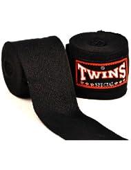 Premium algodón boxeo mano wraps protectors-twins especial, negro