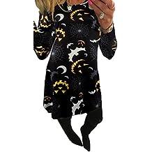 Amlaiworld Halloween Pipistrello stampa manica lunga oscillare Mini abito (S)