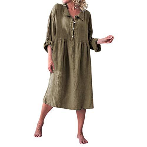CANDLLY Kleider Damen, Elegant Lässige Feste Lose Stil Kleid Strandkleid Mode Festliche Einfarbig Leinen Grundlegende Langarm Hemdkragen Geknöpfte Weiche Kleider(Grün,XL