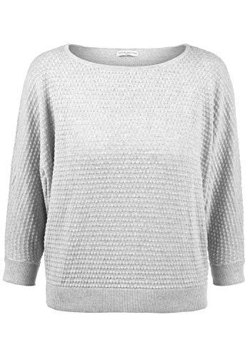 ONLY EULA Damen Strickpullover Feinstrick Pullover Mit Rundhals Und Perlstrick-Muster Aus 100% Baumwolle, Größe:S, Farbe:Light Grey Melange -