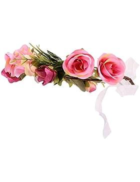 MagiDeal Diadema de Flores Niñas Decoración Guirnalda de Pelo Boda Fiesta Encantador Estilo Sombrero Adorno