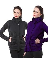 Purys Grey & Purple Fleece Buttoned Sweatshirts Combo of 2