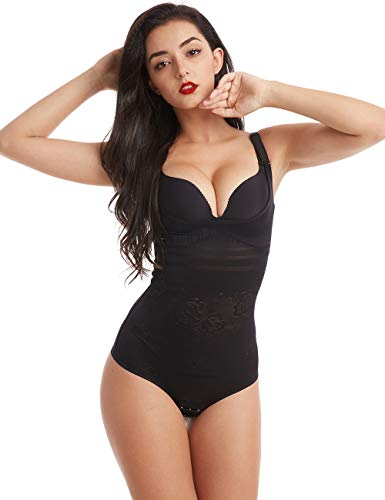 Wirezoll Damen Shapewear, Figurformender Body Bauch Weg Bodysuit mit Haken, Upgraded Version Schwarz, L