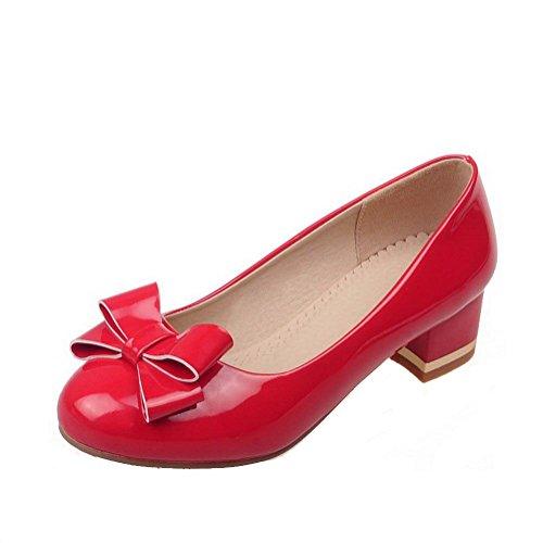 AllhqFashion Damen Ziehen Auf Lackleder Rund Zehe Niedriger Absatz Rein Pumps Schuhe, Rot, 37