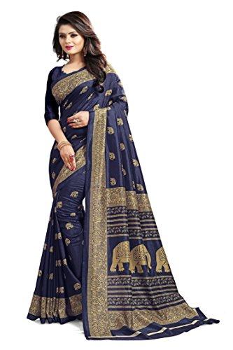Saree Center Cotton Silk Saree (Blue, Free Size)