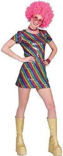 Donna Anni '60 Anni 70 Anni 80 Arcobaleno Strass Regina Della Disco Abito Soul Train Fever Pride Carnevale Mardi-Gras Costume Vestito 10-14