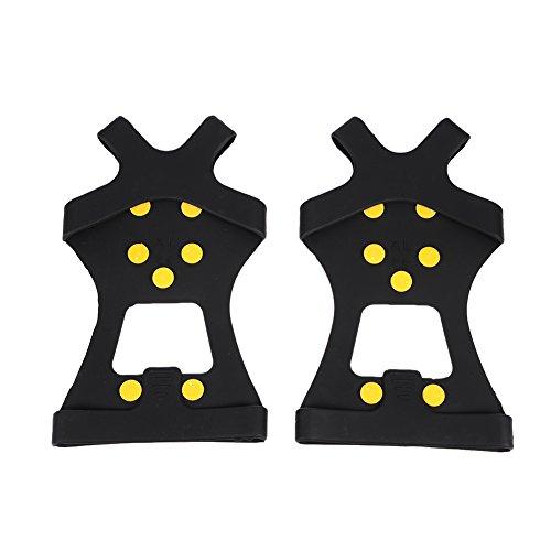 10-Stud antiscivolo in silicone Ramponi Tacchetti antiscivolo Grips Tacchetti ghiaccio neve trazione Tacchetti per scarpe taglia S/M/L/XL, Black, XL