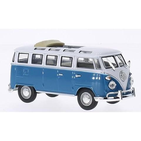 VW T1 samba, techo plegable abierto, azul/blanco, 1962, Modelo de Auto, modello completo, Lucky El Cast