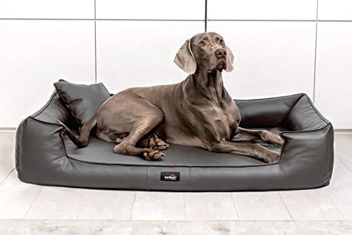 TIERLANDO G5-L-02 Orthopädisches Hundebett Goofy VISCO Anti-Haar Kunstleder Hundesofa Hundekorb Gr. XL 130cm Graphit Grau Ortho